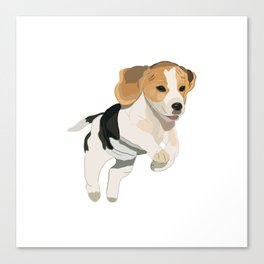 Beagle Art, beagle puppy, digital painting Canvas Print