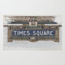 Times Square Subway New York, Tile Mosaic Sign Rug