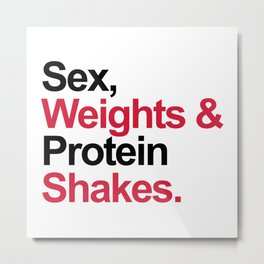 Protein Shakes Gym Quote Metal Print