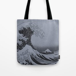 Silver Japanese Great Wave off Kanagawa by Hokusai Tote Bag