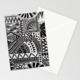 Inverted Retro Flower Doodle Stationery Cards