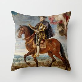 Horseback mounted Spanish King Throw Pillow
