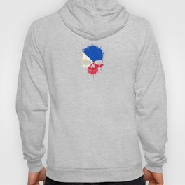 Flag of Philippines on a Chaotic Splatter Skull Hoody