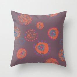 Hand Printed Circular Floral Throw Pillow