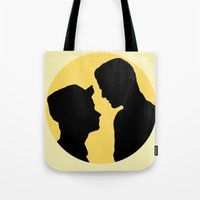 klaine Tote Bags featuring Klaine Zig Zag by byebyesally