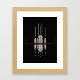 Islamic Architecture Inside Mausoleum Window Geometric Pattern Silhouette Mysterious Framed Art Print