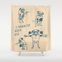 workout Shower Curtains featuring Pug Workout by Huebucket
