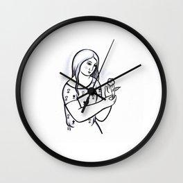 Girl with flower (from Mikuláš Galanda) Wall Clock