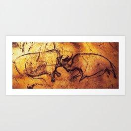 Fighting Rhinos // Chauvet Cave Art Print