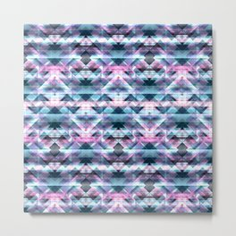 Pink and Blue Bohemian Abstract Aztec Kaleidoscope Metal Print