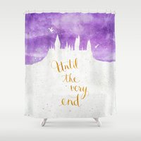 dumbledore Shower Curtains featuring Until the very end by Earthlightened