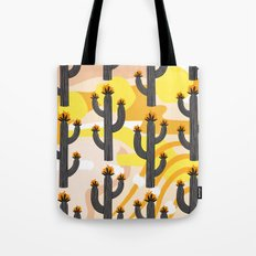 Cacti on Abstract Background Tote Bag