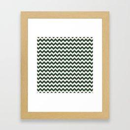 Geometrical forest green ivory modern chevron Framed Art Print