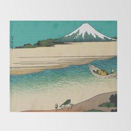 Tama River and Mount Fuji Throw Blanket