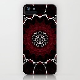 Deep Ruby Red Mandala Design iPhone Case