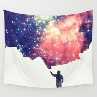 night Wall Tapestries featuring Painting the universe by badbugs_art