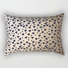Hearts pattern - gold and dark blue Rectangular Pillow