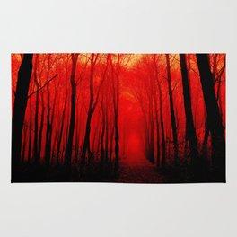 Misty Red Forest Rug