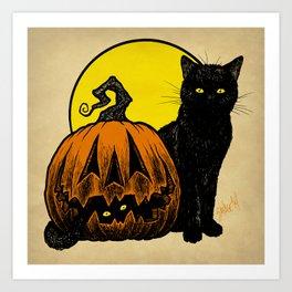 Still Life with Feline and Gourd Art Print