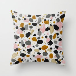 Terrazo brushstrokes Throw Pillow