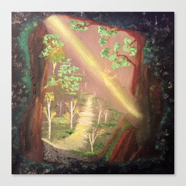 Faery forest cave Canvas Print
