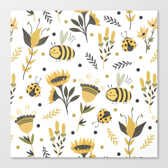 Bees and ladybugs. Gold and black Canvas Print
