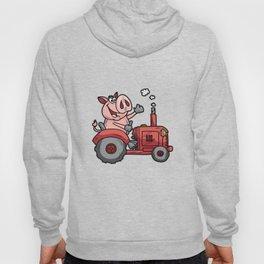 PIG ON A TRACTOR Piggy tractor Farmer Farm Cartoon Hoody