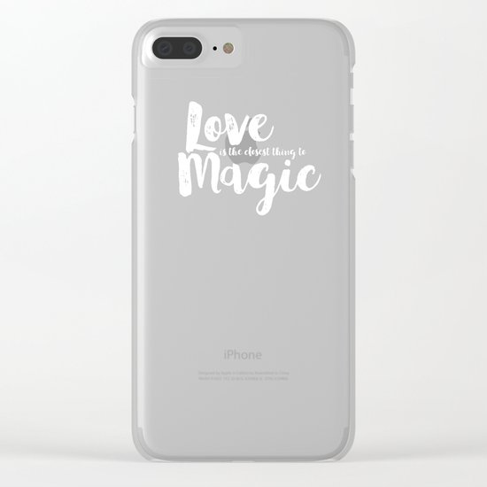 LOVE is the closest think to magic - Saying on peach background - on #Society6 Clear iPhone Case