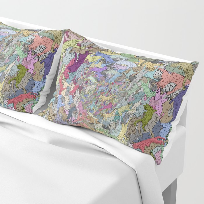 Colorful Flying Cats Pillow Sham