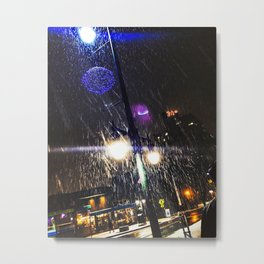 Snowy Night in Downtown Portland, Maine Metal Print