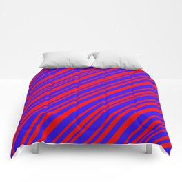 Lines 323 - Blue and Red Diagonals Comforters
