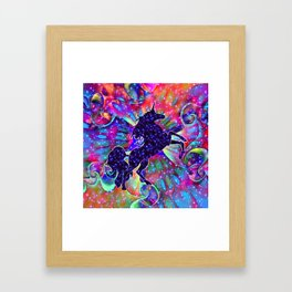 UNICORN OF THE UNIVERSE multicolored Framed Art Print