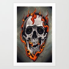 Skull in Flames Art Print