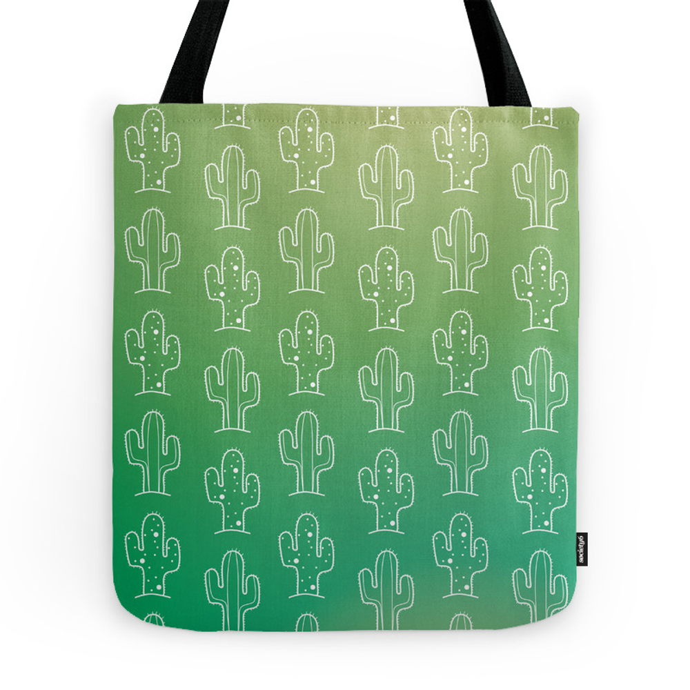 Green Cactus Print Tote Purse by designmindsboutique (TBG9386647) photo