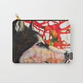husky portrair ilustration  Carry-All Pouch