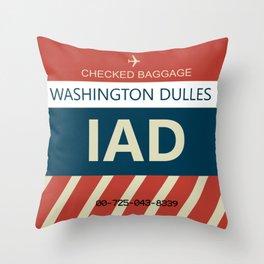 Washington Dulles Airport (IAD) Baggage Tag Throw Pillow