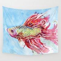 swim Wall Tapestries featuring Fish Swim by Sam Nagel