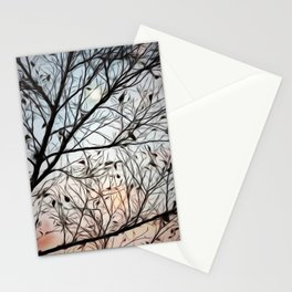 Moon beyond the trees Stationery Cards