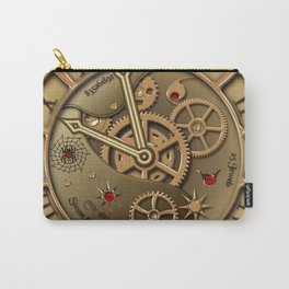 Steampunk clock gold Carry-All Pouch