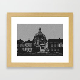 Denmark Black and White Photography of Amalienborg Palace Framed Art Print