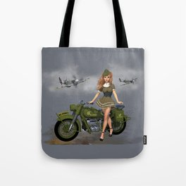 Spitfire Pin Up Art Tote Bag