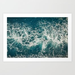 Waves in blue and white sea Art Print