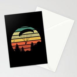 Retro Vintage Paragliding Sunset Gift Stationery Cards