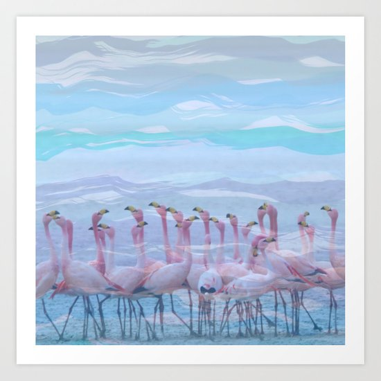 Flamingos #7, fun design Art Print