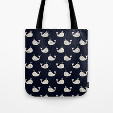 Navy blue maritime sea whale pattern Tote Bag