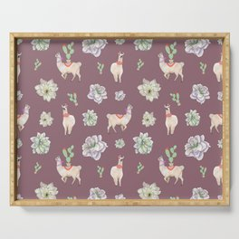 Cute Llamas with Flowers and Cacti (taupe theme) Serving Tray