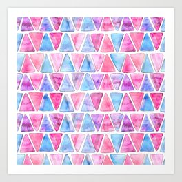 Bubble Gum Watercolor Triangles Art Print