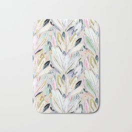 Pastel Shimmer Feather Leaves on Gray Bath Mat