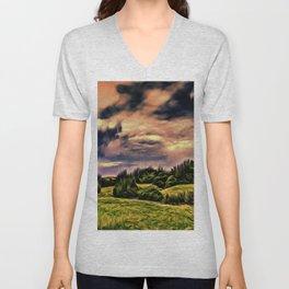 Rimrose Valley (Digital Art Painting) Unisex V-Neck