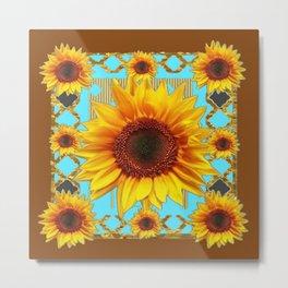 Western Sunflowers Turquoise-Coffee Brown Art Metal Print
